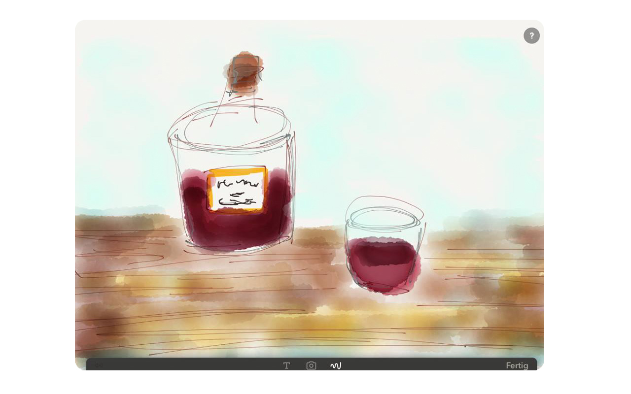FuftyThree Pencil, Illustration, Weinflasche mit Glas