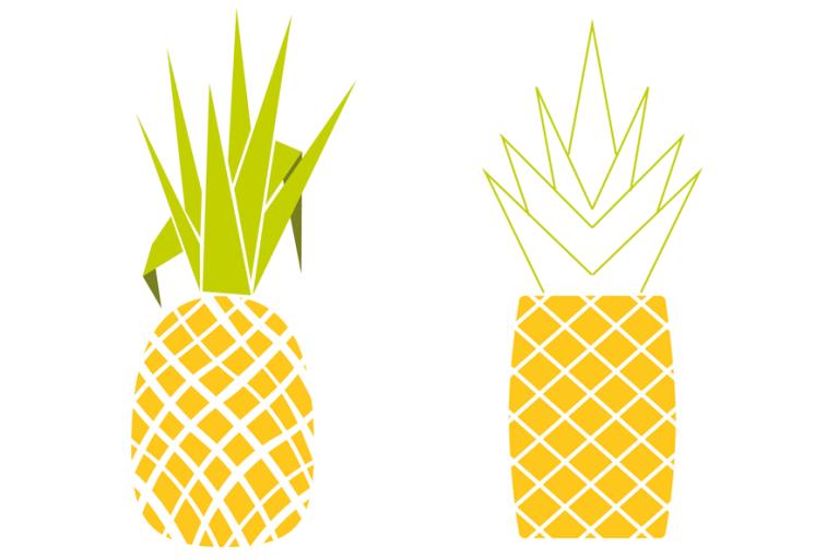 Ananas digital in Illustrator, Früchte zeichnen