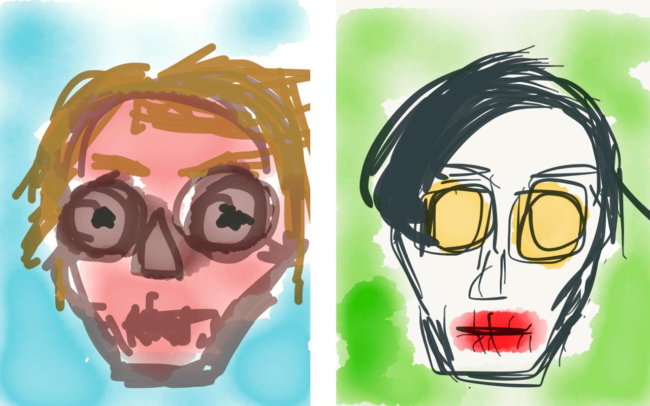Illustrationen am iphone, Marilyn Manson, Andy Warhol,