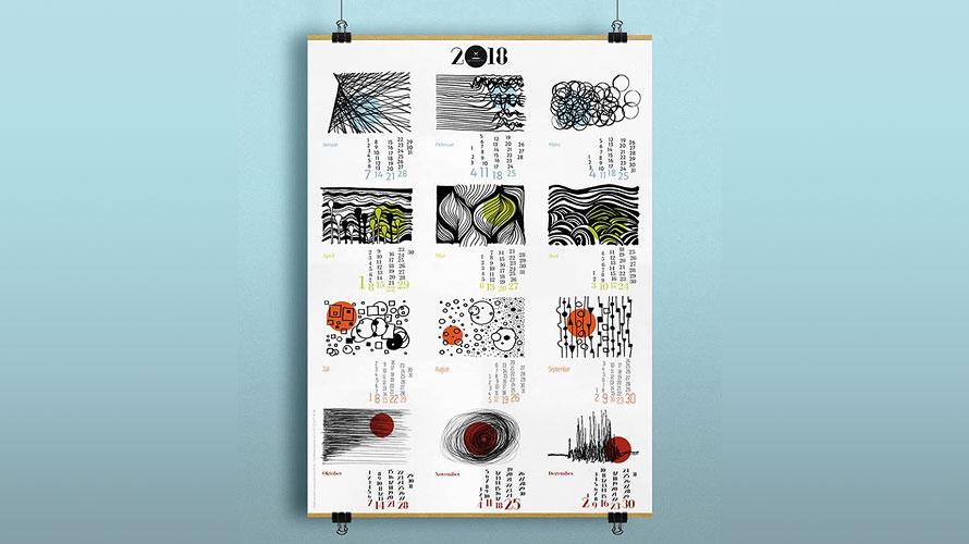Jahreskalender, Wandkalender, Kundenpräsent, Lineart