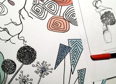 Illustrationen Blumenvasen für einen Kalender