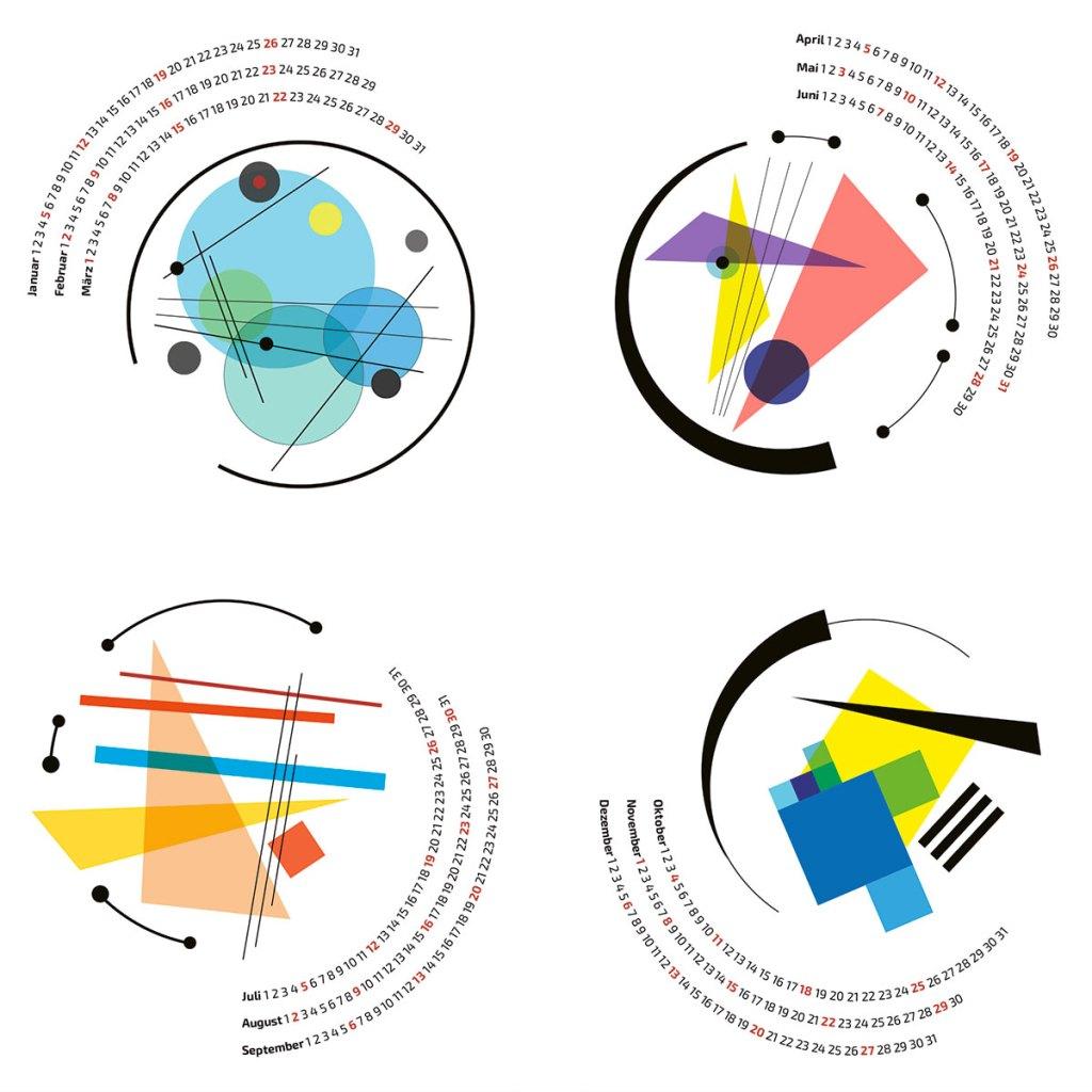 Grafischer Kalender 2020, Bauhaus Inspiration, Abstrakte Grafik, Kandinsky Inspiration