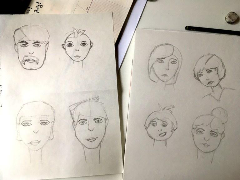 Bleistift Sketch, Gesichter