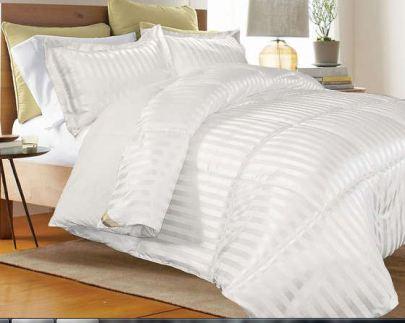 Sprei-Hotel-Cotton-Dobby-Salur-Dobby-Stripe-putih