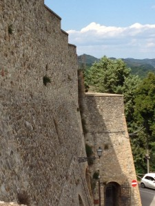 Looking out over the old city walls of Montone