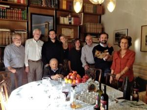Tim, Steve, Ludovica, Julie, Giovanni, Livio (holding Arthur), Paola.  Dr. Pliny is seated.