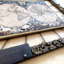 004 World Map Industrial Frame by Spring and Gears