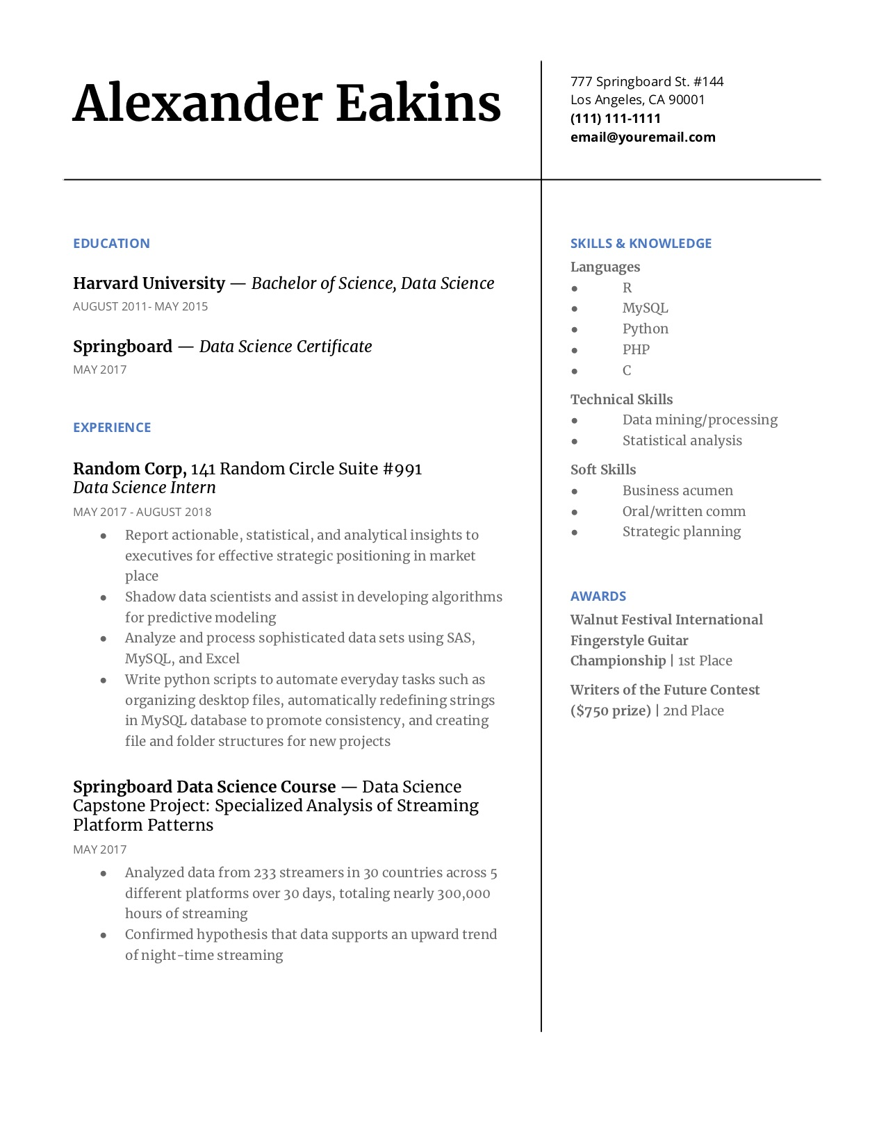 Resume Columns 7 Step Guide To Making Your Data Science Resume Stand Out
