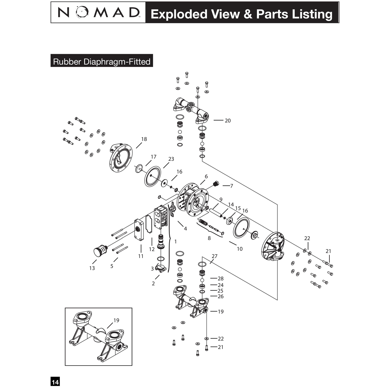 1/2 PWR-FLO AODD Pump,NPF15/PPPP/SN/TF/PTF/N/B