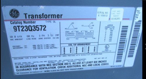 small resolution of  and get our 480 from the primary we take 208v 3 ph from a 100 amp breaker in the main breaker box the transformer is the only load on that breaker