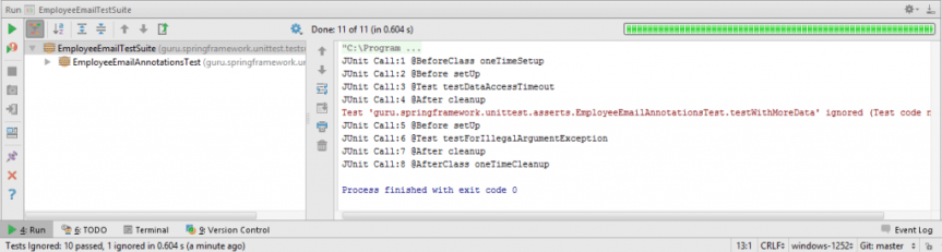 JUnit test suite Output in IntelliJ