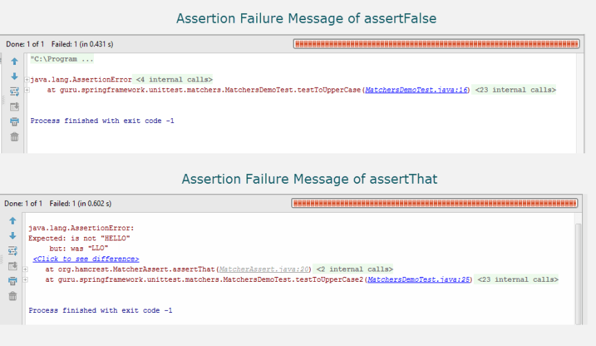 JUnit Assertion Failure Messages for assertFalse and assertThat