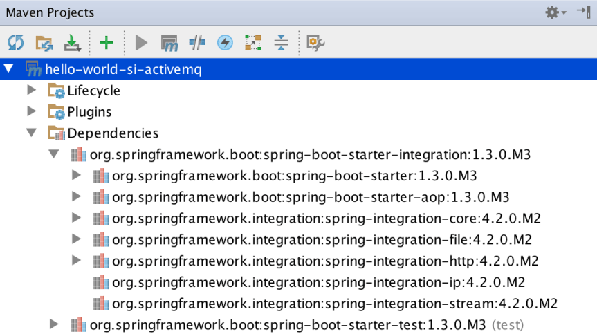 Spring Boot and Spring Integration maven dependencies in IntelliJ