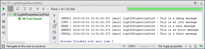 Log4J 2 Messages in InteliJ Console