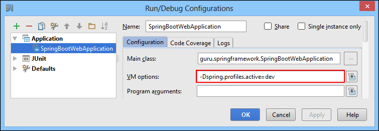 setting active profiles for logging in IntelliJ