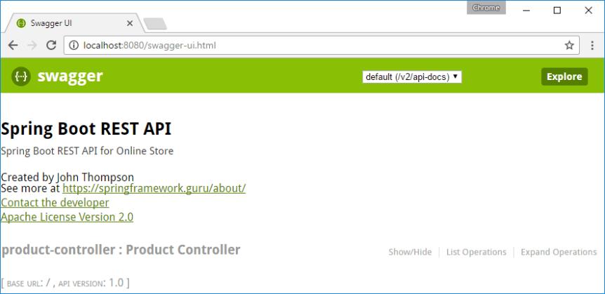 Default API documentation of Swagger UI