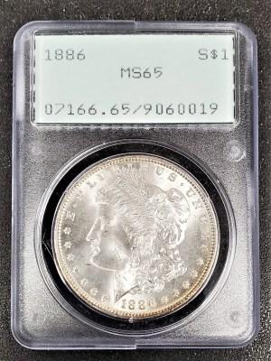 M04-58 1886 Morgan Silver Dollar PCGS MS6