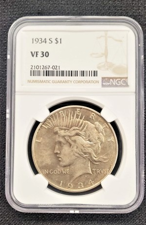1934 Peace Silver Dollar NGC VF30