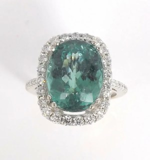 PG02: GIA Certified Tourmaline and Diamond White Gold Ring