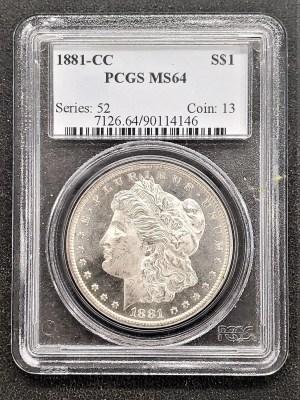 M04-80 1881 Morgan Silver Dollar PCGS MS64