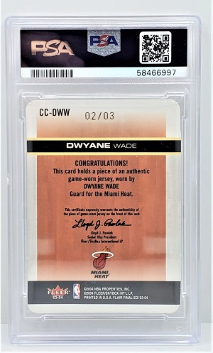 2003 Flair Dwyane Wade 2003 Flair Final Ed. #CCDWW Dwyane Wade Courtside Cuts PSA 7