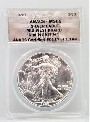 SE-10: 1989 ASE MID WEST HOARD ANACS MS69 LIMITED EDITION