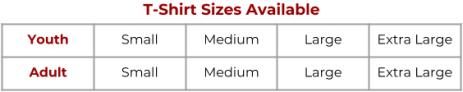 FF T-shirt Sizes
