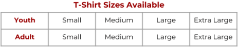 FF T-shirt Sizes