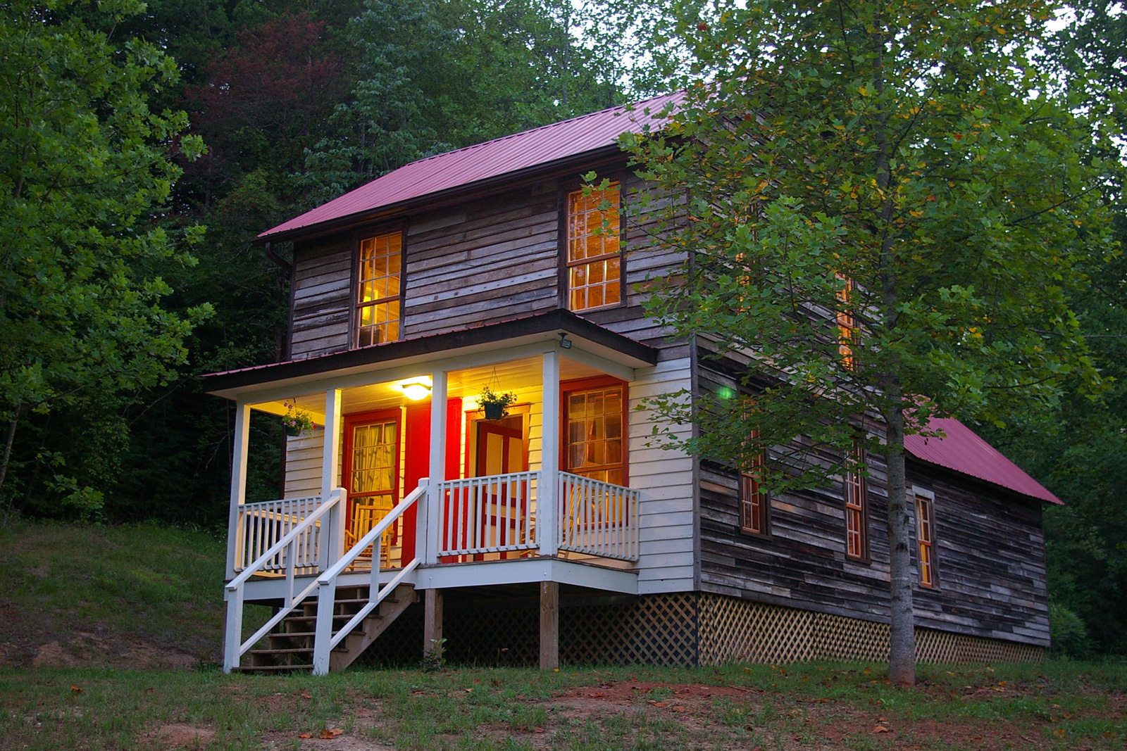 comfortable rocking chair fishing camping appalachian farm house cabin - the cottages at spring