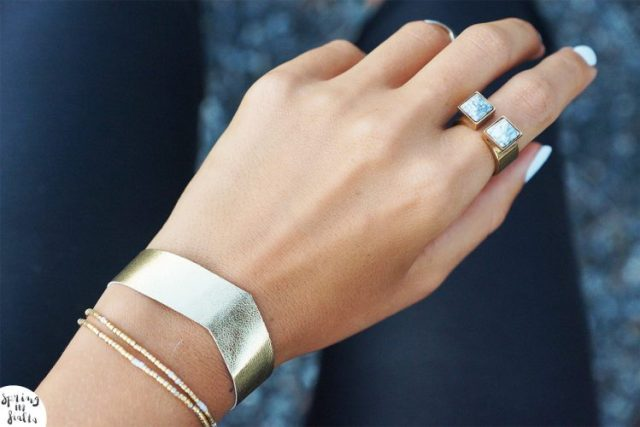 bracelet cuir gold fleche (porté)