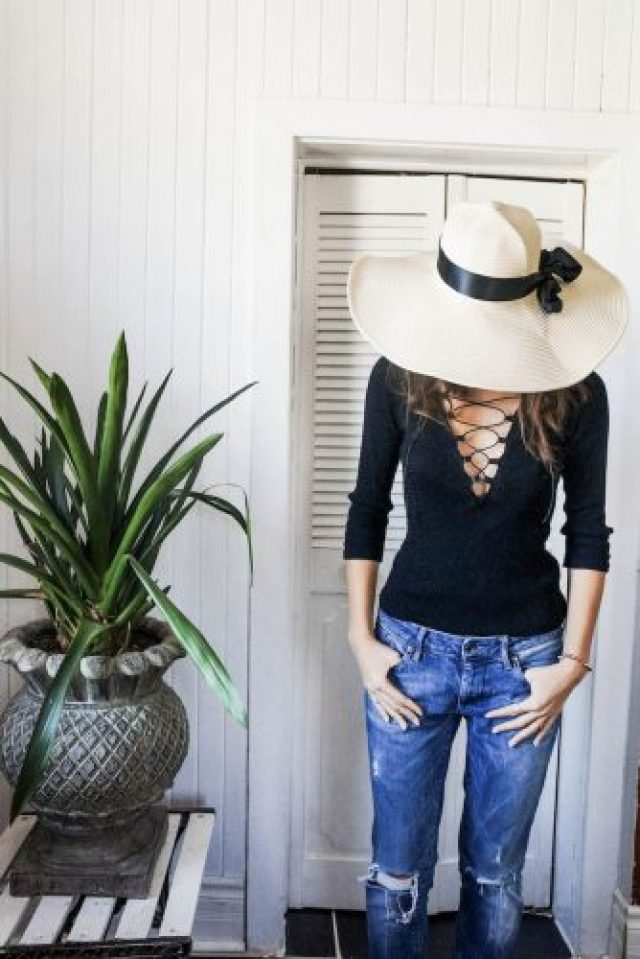 DIY laceup top and boyfriend jeans