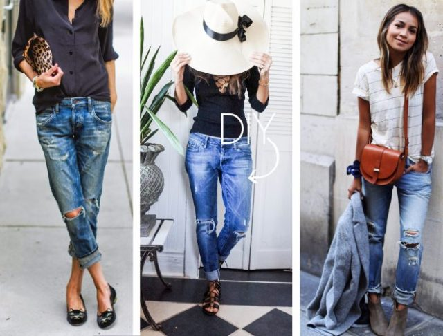 How to find and distress the perfect pair of boyfriend jeans! And how to wear and style them