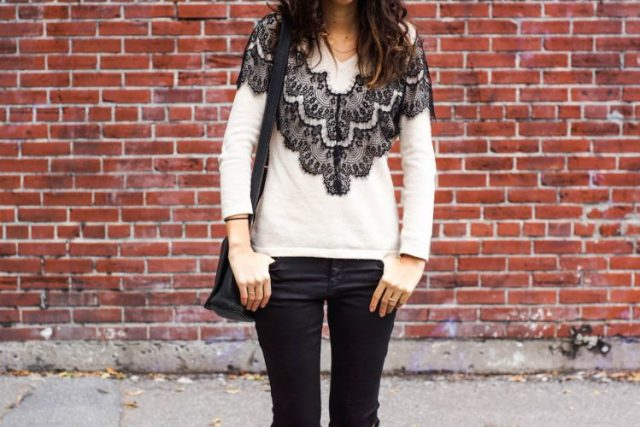 DIY lace-paneled sweater maje