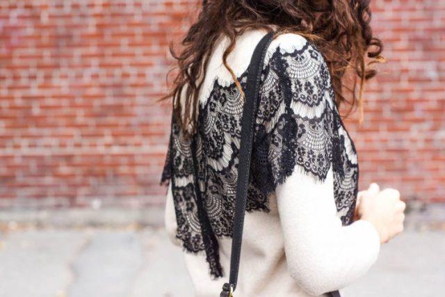DIY lace-paneled sweater maje