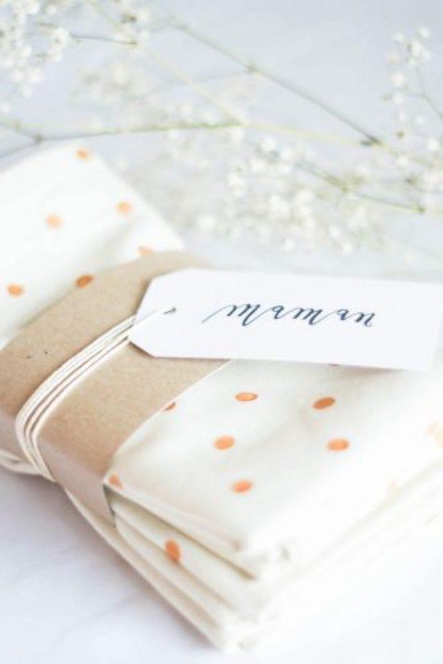 DIY polka dot napkins + giftwrap idea