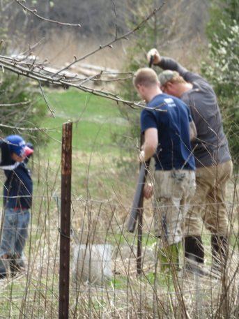 Peanut, our friend, and Scott work on adjusting the fencing around the chicken run.