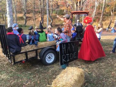 Having fun on the hay ride