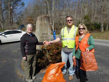 Ruth Atkins, Denise & Jim Hayes3-17-18 Roadside Cleanup