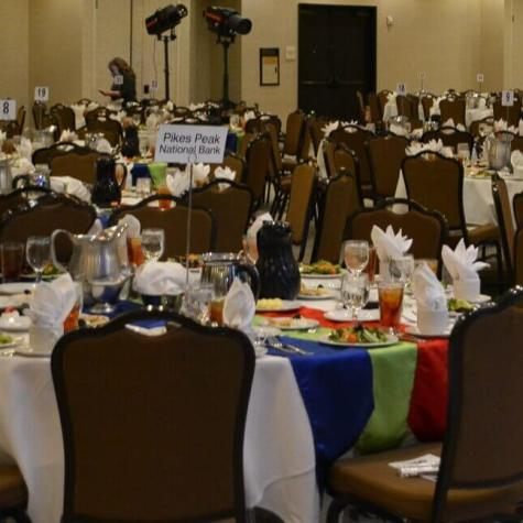 Photo of the room set up for celebration