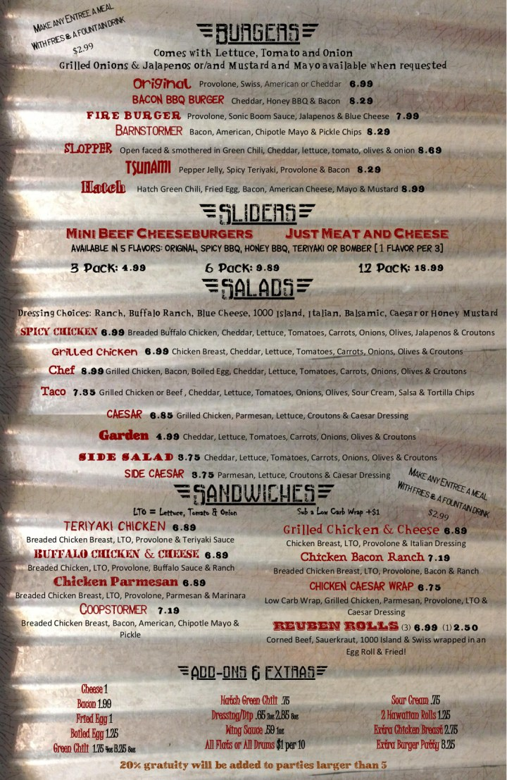 Menu - Wild Wings n Things Southwest Colorado Springs
