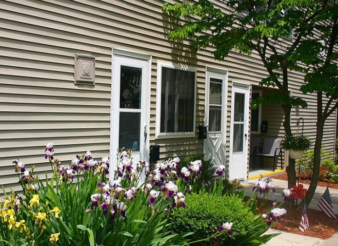 Yellow and purple tiger lilies in bloom around apartment front door.