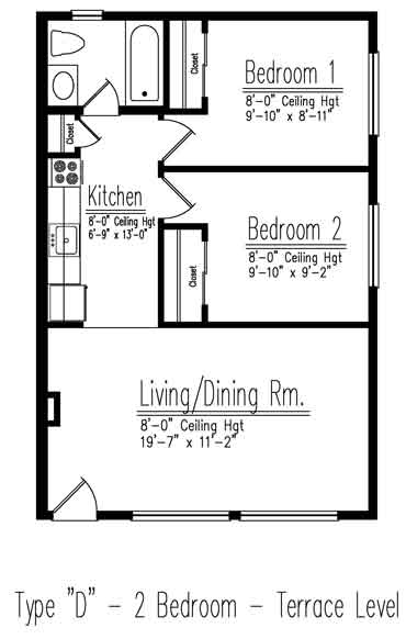 Type D 2 Bedroom Floor Plan