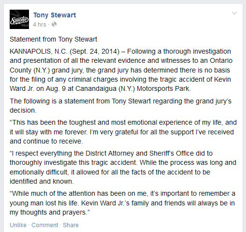 Tony Stewart Releases Statement After Grand Jury Decision