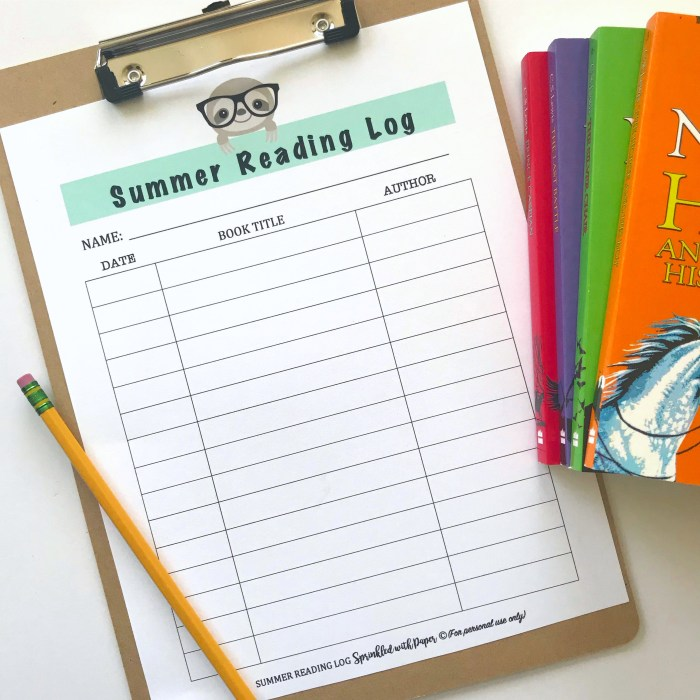 Photograph of summer reading log next to books