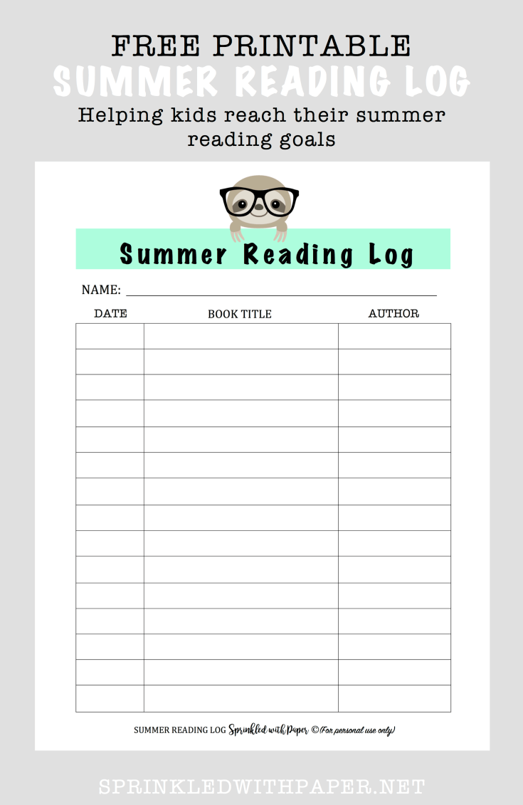 Detail view of summer reading log