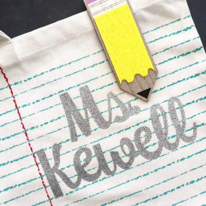 Closeup image of teacher's tote bag with name