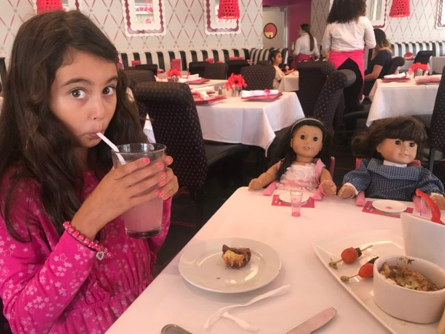 Madison at the American Girl Doll cafe in Los Angeles