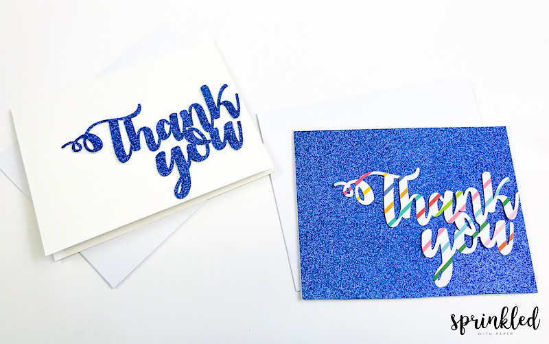 Completed custom Thank You cards