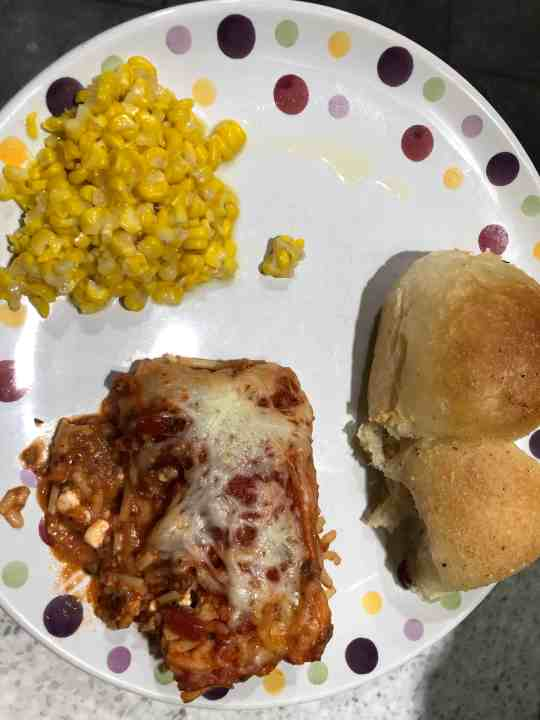 Baked spaghetti and corn made from my food stockpile