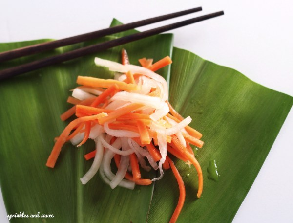 Carrot and Daikon Pickle Do Chua sprinkles and sauce